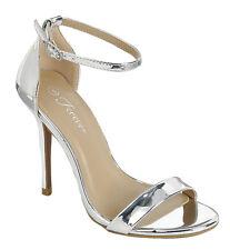 New Womens Open Toe Single Sole Ankle Strap Stiletto High Heel Dress Pump Sandal