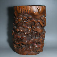 Chinese Exquisite Hand-carved pine Crane Carving Boxwood Brush Pot Pen holder