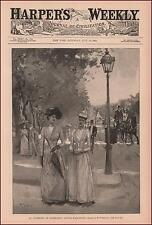 CONNECTICUT AVENUE, WASHINGTON DC, PEOPLE STROLLING SIDEWALK, antique 1890