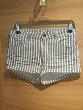 H&M Uk10/Eur36 White/ Navy Stripe Stretch Cotton / Denim Shorts /Hot Pants BNWT