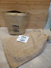 Origins Recycled Kraft Paper Bag and Burlap Bag - Green The Planet New With Tag