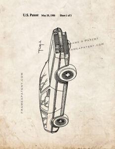 Delorean Car Patent Print Old Look