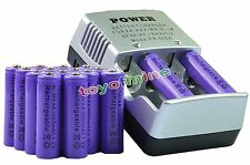 16x AA 2A 3000mAh 1.2 V Ni-MH Rechargeable Battery Cell Purple + AA Charger