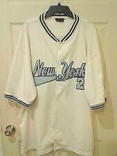 DELF New York #2 White w/ Blue Accents Baseball Style Jersey Shirt 3XL XXXL FS!