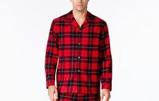 $55 CLUB ROOM Men's PAJAMA Flannel SHIRT Red Plaid COTTON LOUNGE SLEEPWEAR XL
