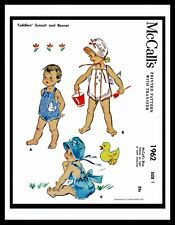 Baby Bonnet Playsuit Sewing Pattern McCall's 1962 GIRL Child KIDS ROMPER Hat