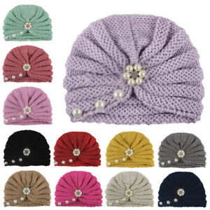 Baby Girls Solid Pearl Knitted Hat Soft Warm Beanie Cap Turban Newborn Headwrap