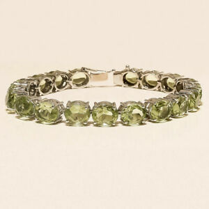 Natural Mexican Green Gold Solitaire Tennis Bracelet 925 Sterling Silver Jewelry