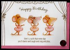 Birthday Mice Mouse Ballerina Tutu Dance Headband GLITTERED - Greeting Card NEW