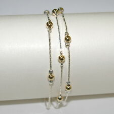 Real 925 Sterling Silver and 14kt Gold Filled Beads 3 Strands Two Tone BRACELET