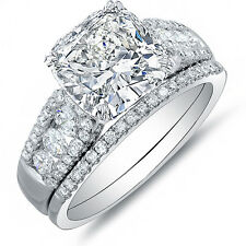 4.58 Ct Cushion Cut Diamond Platinum Engagement Ring w/ Matching Band GIA I,VVS1