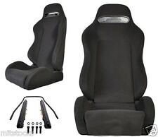 2 BLACK CLOTH + BLACK STITCHING RACING SEATS RECLINABLE + SLIDERS ALL TOYOTA *