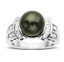 9-10mm AAA Tahitian Pearl & .37tw. Diamond Ring NWT