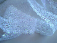 "knitting in/coathanger/eyelet lace 5 metres x 3.5 wide ""White Opal"" colour"