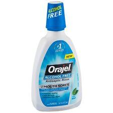 Orajel Alcohol-Free Antiseptic Mouth Sore Rinse, Fresh Mint 16 oz (Pack of 2)
