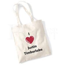 'I love (Heart) Justin Timberlake' Cotton Canvas Reusable Shopping Tote Bag