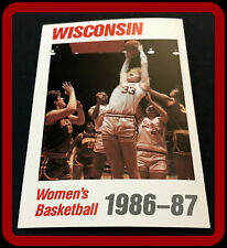 1986-87 WISCONSIN BADGER WOMENS BASKETBALL POCKET SCHEDULE FREE SHIPPING