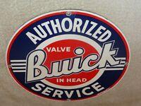 """VINTAGE BUICK VALVE IN HEAD SERVICE 11 1/4"""" PORCELAIN METAL GASOLINE & OIL SIGN!"""