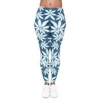 Women Marijuana Mint Weed Graphic Print Skinny Stretchy Yoga Leggings New