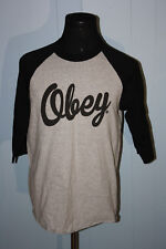 Obey Propaganda Black and Gray Script Baseball Sleeve Pullover Tee Shirt L