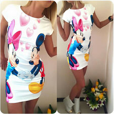 Sexy Women Summer Minnie Floral Casual Party Bodycon Tunic Tops Short Mini Dress