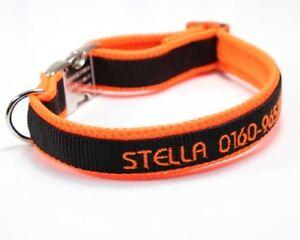 Exclusives Halsband bestickt mit Name Telefonnummer personalisiert Hundehalsband
