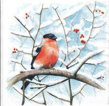 4 Single paper decoupage napkins. Christmas, winter, birds, forest design-X181