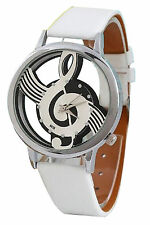 Damen Herren Musik Skelett Uhr Kunstleder Armband Quarz Armbanduhr Weiss N7V5
