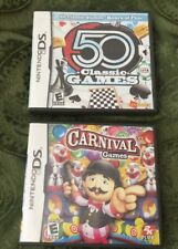 2 NINTENDO DS GAMES CASE MANUAL & CARTRIDGE CARNIVAL GAMES 50 CLASSIC GAMES USED