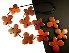 1 Hand Carved & Painted Golden Colours Wood Butterflys Dangle Necklace - # B41