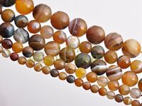 20pcs 8mm Round Brown Agate Stripped Gemstone Loose Spacer Bead Jewelry Finding