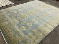 8x10 MUTED BLUE HANDMADE WOOL RUG HAND-KNOTTED ORIENTAL CARPET modern big oushak