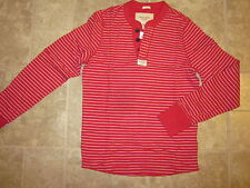 Abercrombie & Fitch XXL Muscle Red/Grey Stripe NWT Heavy LS Tee Shirt Very NICE
