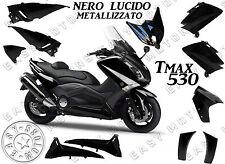 KIT CARENE SCOCCHE PLASTCHE YAMAHA TMAX T-MAX 530 2012 2014 NERO LUCIDO METALLIZ