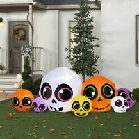 9 FT L Halloween SKULL PATCH  AIRBLOWN INFLATABLE LIGHTED YARD DECOR GEMMY