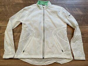 NIKE White Reflective Nylon Lightweight Running Windbreaker Jacket womens Medium