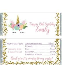 20 UNICORN BIRTHDAY Personalized PARTY CANDY BAR WRAPPERS FAVORS