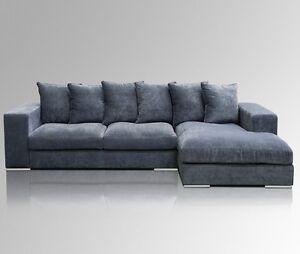 AMARIS Elements l Ecksofa 'Moore' Samt Sofa dunkel-blau Couch Stoff Bezug 3m