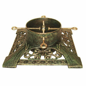 Victorian Brushed Gold Cast Iron Christmas Tree Stand Holder Real Trees 7ft-9ft