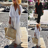 VONDA Womens V-neck Lace Long Dress Summer Beach Swimwear Bikini Cover Up Kaftan