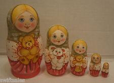 Russian Matryoshka - Wooden Nesting Dolls - 5 Pieces Unique Coloring - Set #5
