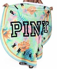 """NWT Victoria's Secret PINK Round Circle Beach Towel 55"""" Tropical Floral Flowers"""