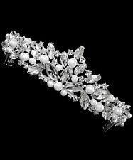 Brautschmuck Diademe Krone Haarreif Haarschmuck Perlen Weiß Kristall Klar 5cm