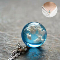 Pendant Jewelry Necklace White Terrarium Ball Blue Resin Sky Glass Clouds Gift