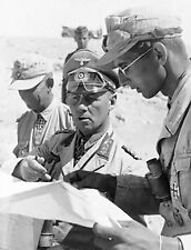 WW2 Photo WWII German General Erwin Rommel with Map Afrika Korps  / 2273