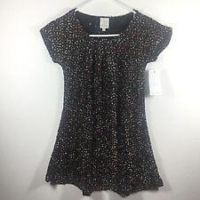 NWT Ella Moss Girls Black Multi Colored Knit Short Sleeve Dress Size 12