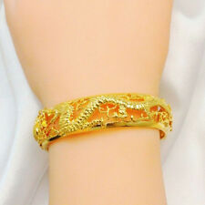 Dragon phoenix Bracelet Women's Hollow Real Yellow Gold Filled Bangle Jewelry Po