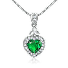Dangle Drop Heart Emerald Silver Gold Filled Pendant Women Lady Wedding Necklace
