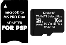 16gb Memory Stick Adapter Kingston Micro SD 100mb/s for PSP 1000 2000 3000 3003