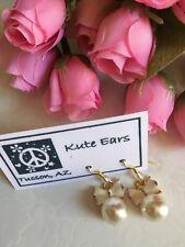 Glodtone White Bow with Mock Pearl Dangle Earrings